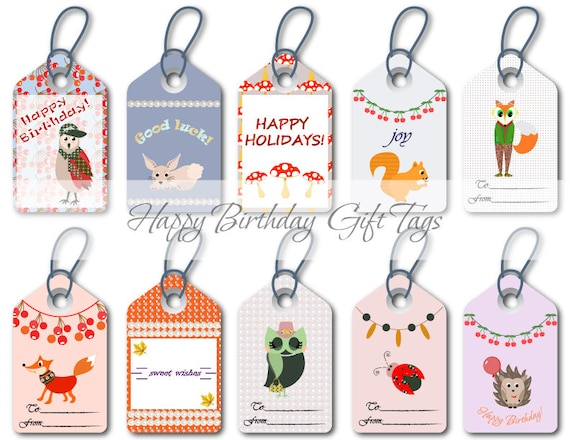 Happy Birthday Tags Colorful Gift Printable Wrapping