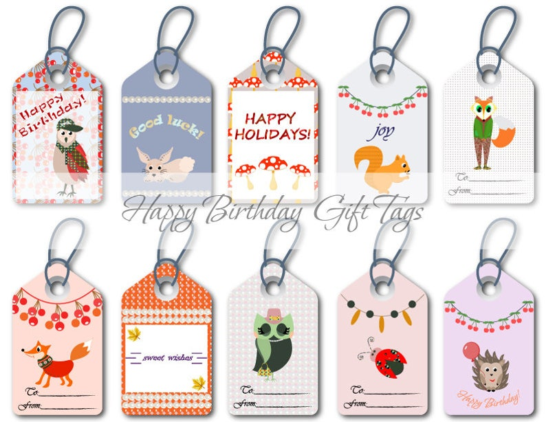 graphic relating to Cute Gift Tags Printable referred to as Delighted birthday tags Colourful reward tags Printable present wrapping labels Summer months sweet hues Reward tags obtain Choice of lovable present tags