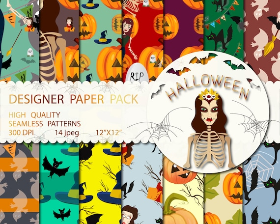 Halloween Paper Pack Fall Backgrounds Cute Pumpkins Digital Seamless Patterns Happy Halloween Witch Black Cat Moon Commercial Use