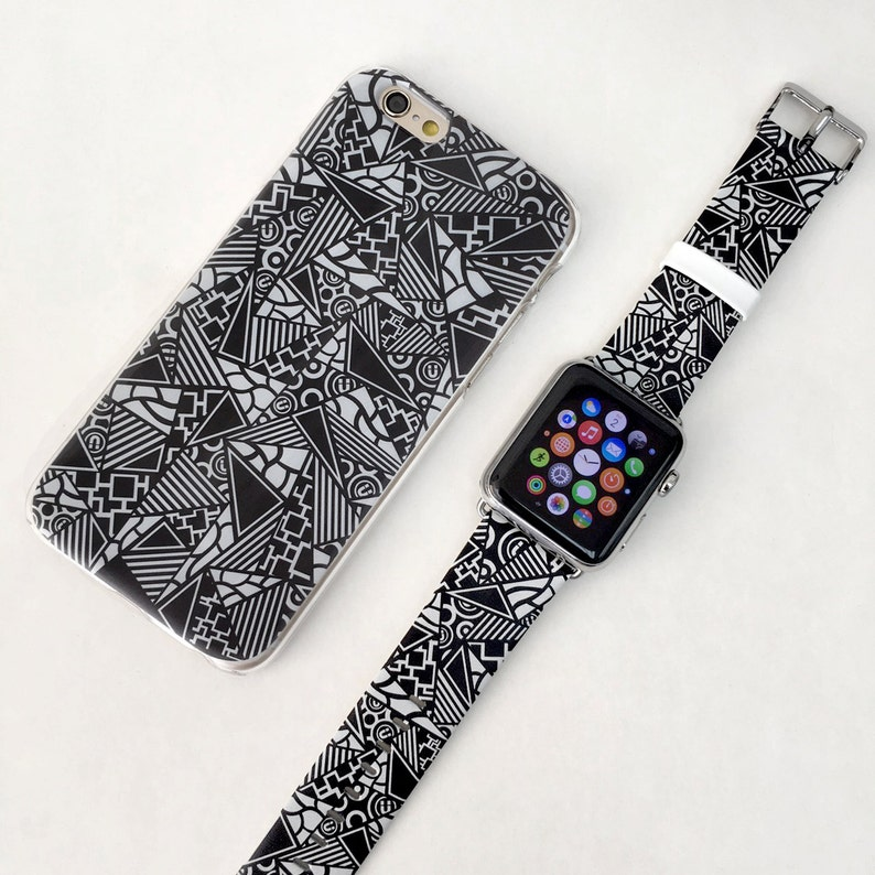 big sale 0d99f 1450e Patch Work iPhone case & Apple Watch Band 38mm 42mm Gift Set iPhone 8 case  iPhone 7 Plus case iPhone 6S case iPhone 8 Plus iPhone X case