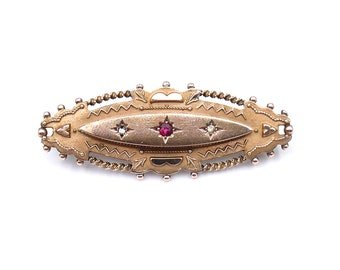 Antique ruby diamond gold brooch, a fine vintage ruby brooch from the Edwardian era.