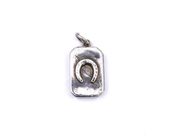 Antique locket with horseshoe and riding crop, very old silver treasure, unusual and rare gift from 1800 England.