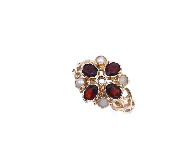 Vintage garnet pearl ring in 9kt gold, a retro gold ring with garnet gemstones and pearls with a rich textured style, garnet cluster ring.