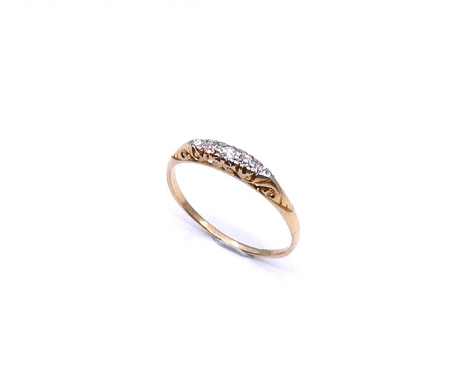 Antique Five stone diamond ring, fine Edwardian diamond ring, lovely antique stacking ring.