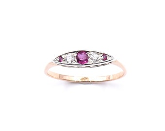 Vintage ruby, diamond ring, elegant 9kt gold ring, a delicate gold ring. An ideal July birthstone ring.