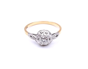 Vintage diamond solitaire ring in 18kt gold, ideal diamond promise ring or anniversary ring gift, old cut diamond ring.