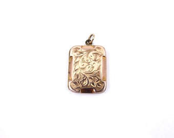 Antique rose locket, engraved rose gold locket in a rectangle shape, vintage rose gold locket