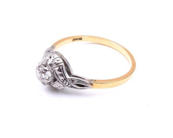 Art Deco diamond gold ring, ideal antique diamond promise or engagement  ring.