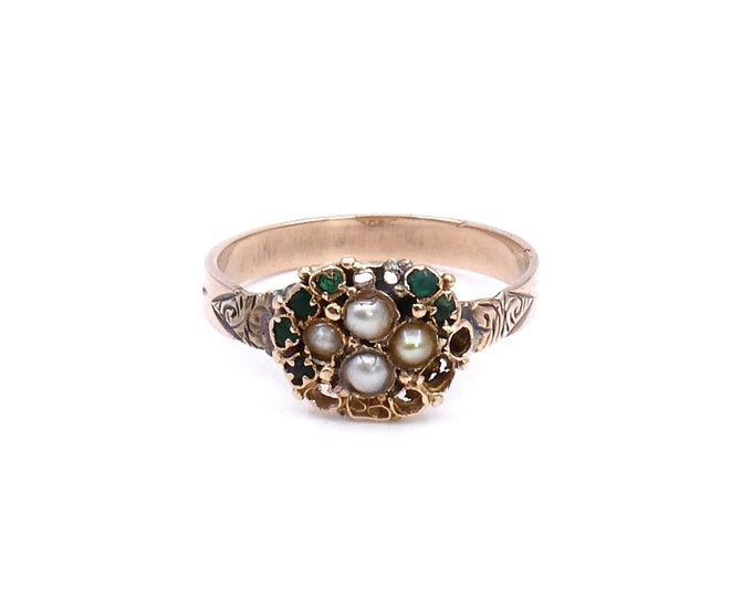 Antique engraved ring with pearls, an antique pearl and paste set ring with scroll detailing, vintage engraved ring.