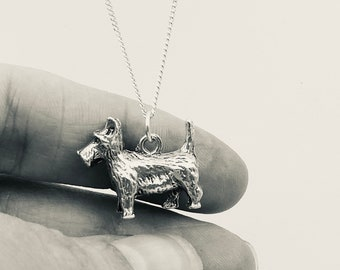 Vintage dog charm, a vintage scottie dog charm on a silver chain, silver animal pendant necklace.