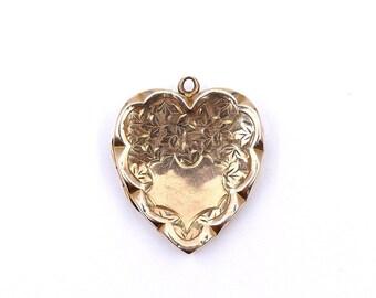 Engraved antique gold locket, a 9 karat art nouveau gold locket.