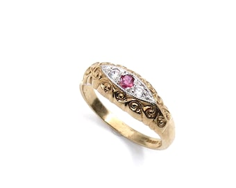 Vintage ruby gold ring, ruby diamond ring ideal July birthstone ring, Ruby anniversary gift.