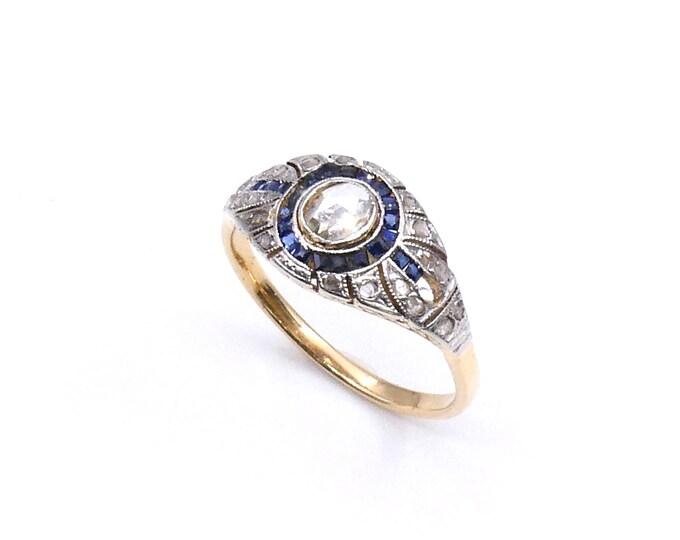 Art Deco sapphire ring with diamonds, antique sapphire ring with an rose cut diamond set in 18kt gold.