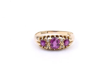 Antique ruby diamond ring with an openwork setting, a vintage ring from 1911 England, ideal July birthstone ring.