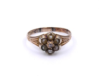 Antique diamond pearl cluster ring in 15kt, victorian flower ring, an antique treasure from the Victorian era.