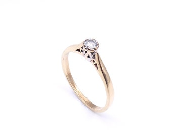 Vintage gray diamond solitaire ring, a small diamond ring set in 9kt gold, a recent vintage diamond ring.