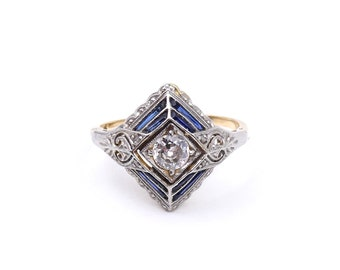 Antique Sapphire ring with diamonds set in 18kt gold and platinum, Art Deco sapphire ring, sapphire platinum ring.