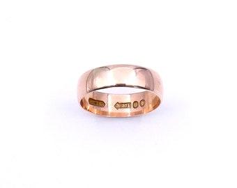Antique 9 karat rose gold ring, a rose gold band.