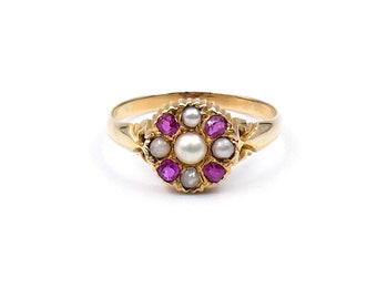 Antique ruby pearl flower ring, ruby cluster ring in 18kt gold, dainty victorian gold ring, an unusual vintage treasure.