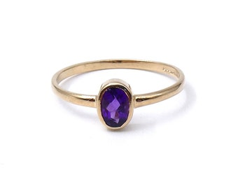 Vintage amethyst ring in a 9kt gold setting, a delicate amethyst gold ring, ideal ring gift for a February birthday.
