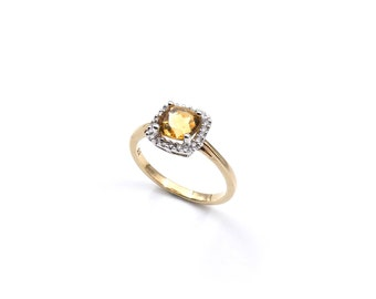 Citrine gold ring, yellow gemstone ring with a cushion cut square gemstone in 9kt gold, November birthstone ring.