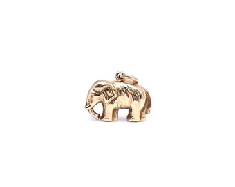 Vintage elephant charm, vintage gold animal pendant on a gold plated chain, animal lover's gift.