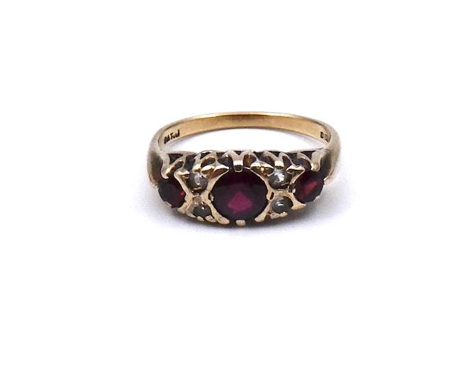 Vintage garnet and quartz ring set in 9kt gold, a garnet January birthstone ring, antique style garnet ring.