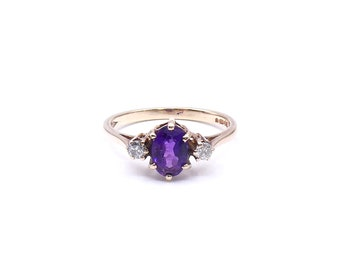 Vintage amethyst ring with diamonds, pretty vintage gold ring with a vibrant purple amethyst, February birthstone ring.
