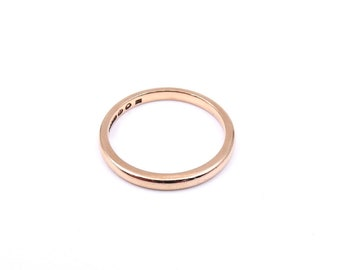 Vintage rose gold ring, an antique plain rose gold band, ideal wedding ring, a 9k gold ring from London.