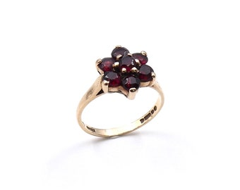 Vintage garnet cluster ring, vintage garnet flower ring in 9kt gold, ideal January ring gift.