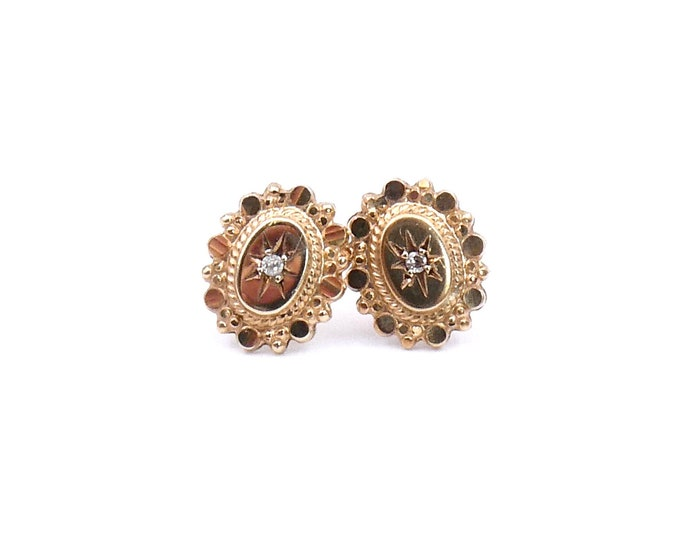 Antique gold, diamond earrings, vintage gold stud earrings with an engraved star and gold wire work.
