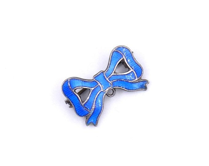 Vintage enamel brooch in a bow shape, blue enamel bow brooch, adorable vintage brooch