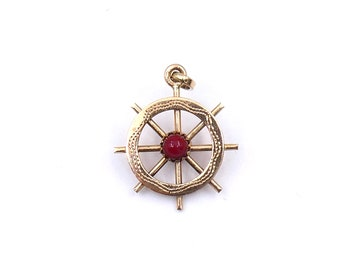 Gold pendant 18kt gold, nautical gold pendant, a beautifully made ship's wheel, unusual vintage gold pendant.