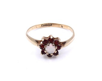 Vintage garnet and opal cluster ring in 9kt gold, ideal everyday garnet flower ring.