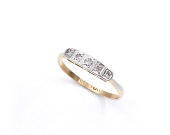 Art Deco diamond ring, vintage diamond five stone ring in a geometric square style 18kt gold, platinum setting, and a milligrain edging.