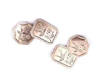 Engraved rose gold cufflinks, beautiful pair of antique cufflinks with engraving of birds and flowers.
