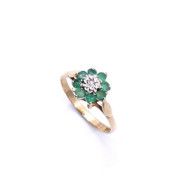 Vintage emerald cluster ring, emerald flower 9kt g