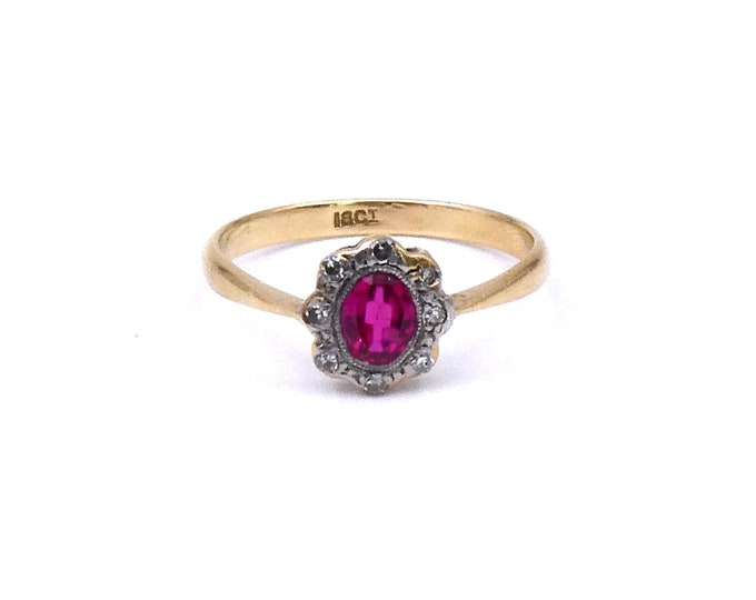 Art Deco ruby ring with diamonds, daisy ruby ring, beautiful antique lab grown ruby and diamond ring in 18kt gold and platinum.
