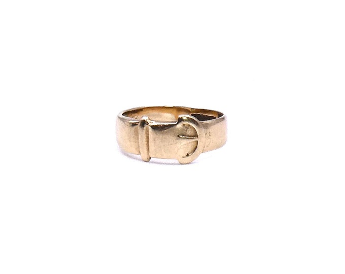 Vintage gold buckle from 1900's, antique gold buckle ring for small finger, symbolic ring for commitment, size 4.75 gold ring.