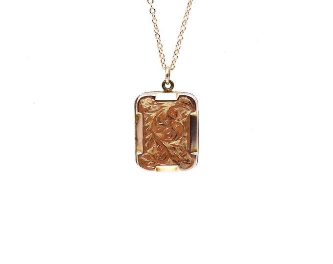 Engraved rose gold locket, a small rectangular antique rose gold locket, victorian back and front locket.