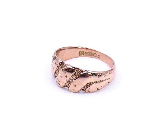Rose gold engraved band, an antique gold love ring or rose gold keepers ring.