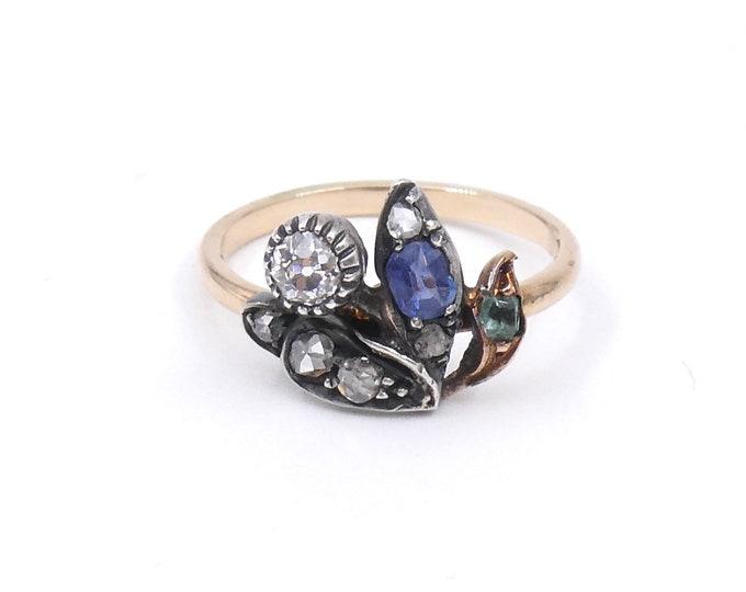 Vintage emerald, sapphire diamond ring,  leaf or bird shaped ring.