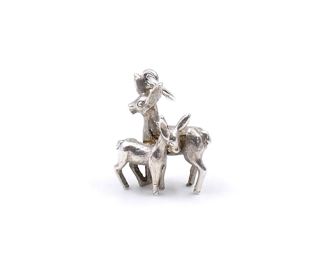 Silver animal charm, vintage silver deer charm on a fine sterling silver chain, ideal new mother gift.