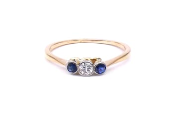 Antique three stone ring, sapphire diamond vintage ring, a delicate sapphire ring.