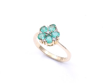 Emerald cluster ring, emerald flower ring in 9kt gold with little diamonds, a daisy ring with oval emeralds, may birthstone ring.