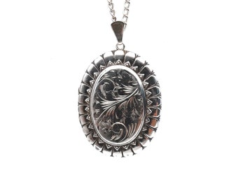 Stunning large vintage silver locket with a long heavy chain, beautiful antique silver gift, very large locket silver.