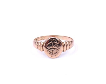 Vintage rose signet ring, engraved with initials, antique signet ring from early 1900's