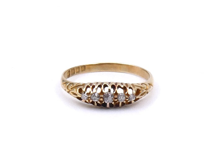 Antique five stone diamond ring, Edwardian diamond ring, fine delicate antique ring in a claw setting.
