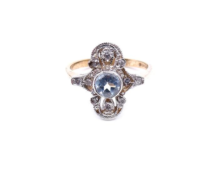 Vintage aquamarine ring with diamonds, an unusual vintage aquamarine ring, elegant statement ring.