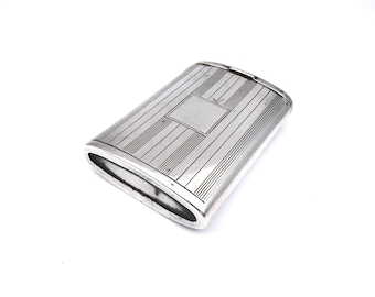 Antique sterling silver vesta, Art Deco silver box from 1926, unique antique gift.